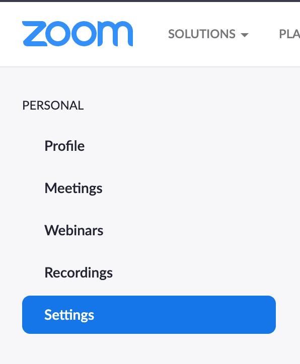 Zoom meetings settings tab