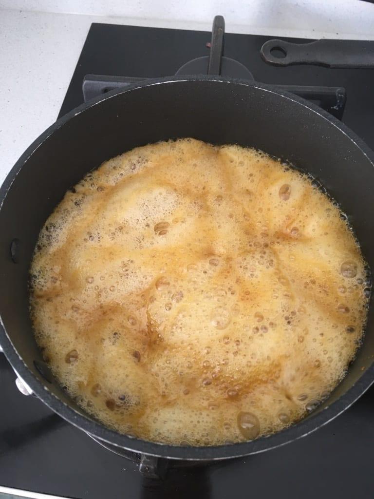 Bubbling butter in pan